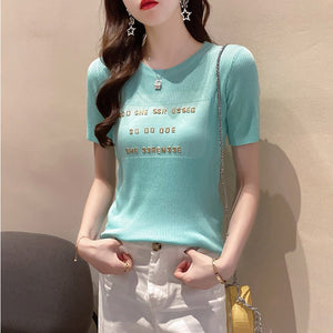 High Quality Knitted Alphabet Applique T-shirt Women Short Sleeve Clothes Elastic Top 2020 Spring Summer Wild Tshirts White