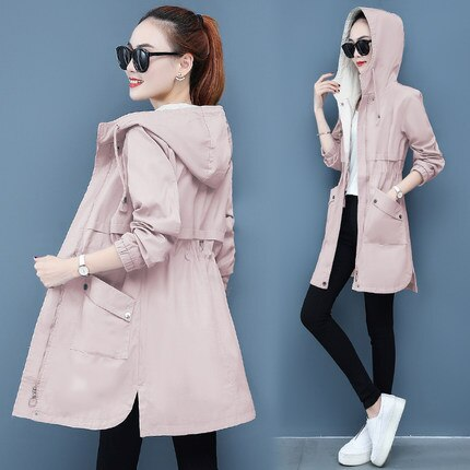 2020 Spring New Women's Windbreaker Korean Plus Size Jacket Fashion Wild Slim Zipper Hooded Clothes Women Jackets Coats 3XL G141
