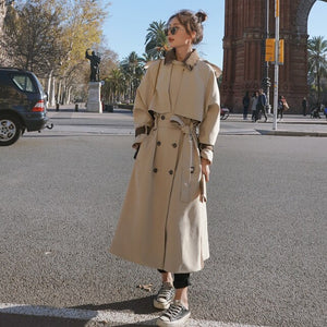 Fashion New Women Trench Coat Double-Breasted Long Patchwork with Belt Storm Flaps Spring Autumn Ladies Outerwear Clothes Coat