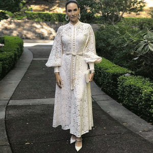 New Runway Designer Women's' Sexy Hollow Out Crochet Lace Dress Spring Lantern Sleeve Tassel Bandage Elegant Party Long Dresses