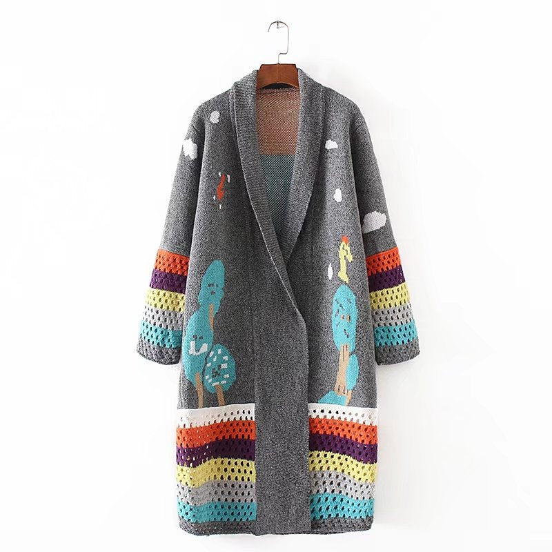 2019 Loose Fashion Cardigan feminino Autumn Winter Long Cardigans Knitted Coat Women Cute Long Poncho Sweaters Crochet
