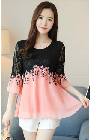 4XL 3XL Peplum Top New Hot Sales Women Summer Faux Two Piece Flare Sleeve Black Hollow Out Crochet Top Pink White Chiffon Blouse