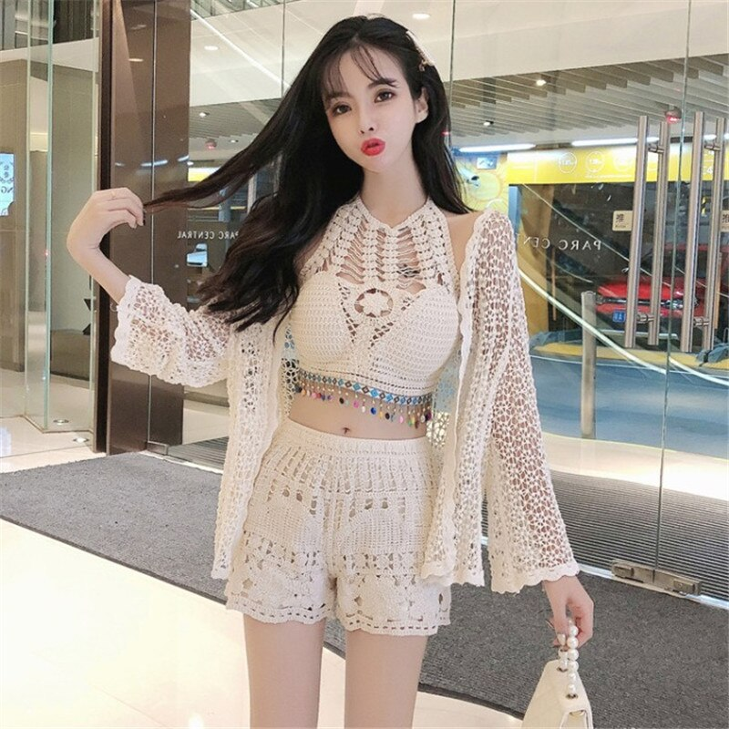 Women Summer Crochet 3pc Sets Sexy Cropped Camis Vest&Sun Protection Shirts&Mini Shorts Set Fashion Hollow Out Three Piece Suits