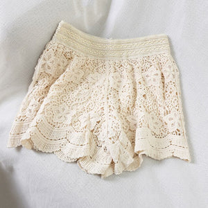 Women Elegant Lace Crochet Short Summer Sexy Hollow Out Cotton Sexy Shorts White Black Nude short