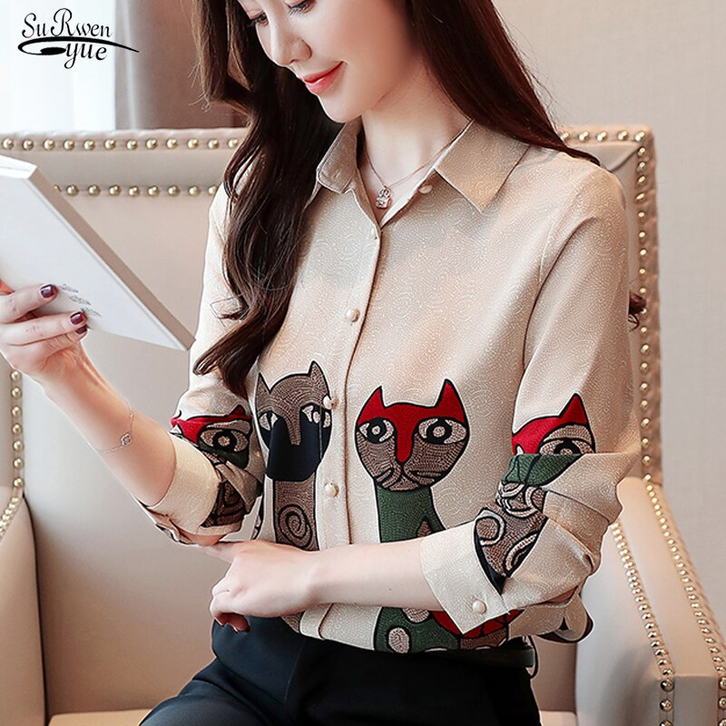 Shirts Female 2020 Fashion Long Sleeve Spring Korean Chiffon Bottomed Floral Women Tops and Blouses Elegant Ladies Women 8356 50