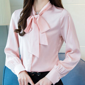 Pink Blouse Women Ladies long-sleeved bow tie ice silk satin bottoming Blouse Streetwear Office Blouse Casual Tops Plus Size