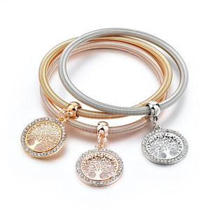 LongWay Classic 3 PCS/Set Gold color Tree of Life Charm Bracelets for Women Romantic Crystal Bracelet & Bangle Jewelry SBR170027