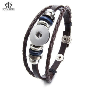 New Arrivals 15 cols cheaper PU Leather Bracelet 18mm snap button Bracelet fit 18mm DIY snap button armband Jewelry SZ0281g