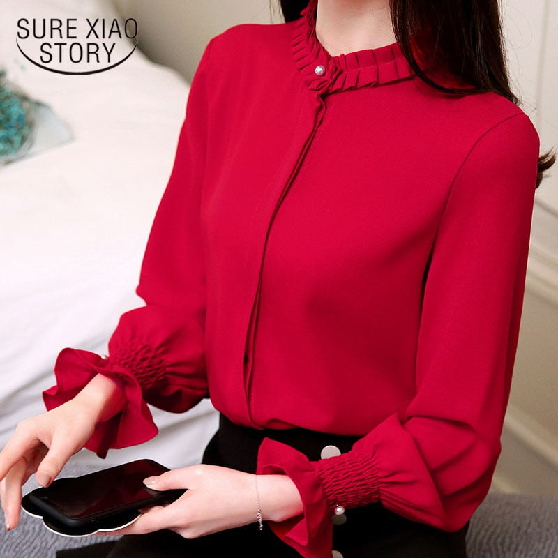 Fashion  women blouse Red sweet chiffon shirt long-sleeved bottoming women top autumn and winter solid slim blusa 1016 40