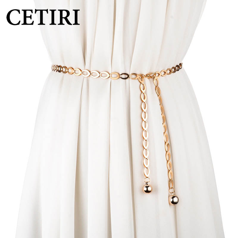 CETIRI Korean Fashion Grace Golden Silver Girls Waist Chain Dress Decoration O Ring Metal Belt Woman Dress Decoration