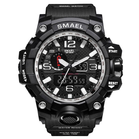 [Silver] - Men's Sports Watch Dual Display Waterproof - 5ATM Water-resistant Digital with LED Backlight