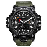 [Army Green] - Men's Sports Watch Dual Display Waterproof - 5ATM Water-resistant Digital with LED Backlight