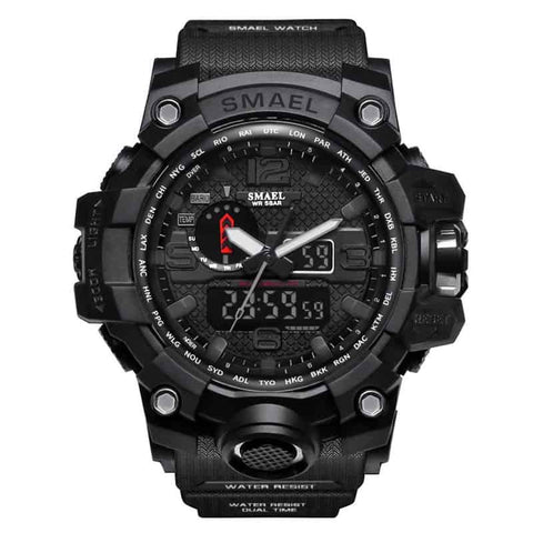 [Black] - Men's Sports Watch Dual Display Waterproof - 5ATM Water-resistant Digital with LED Backlight