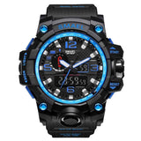 [Blue] - Men's Sports Watch Dual Display Waterproof - 5ATM Water-resistant Digital with LED Backlight
