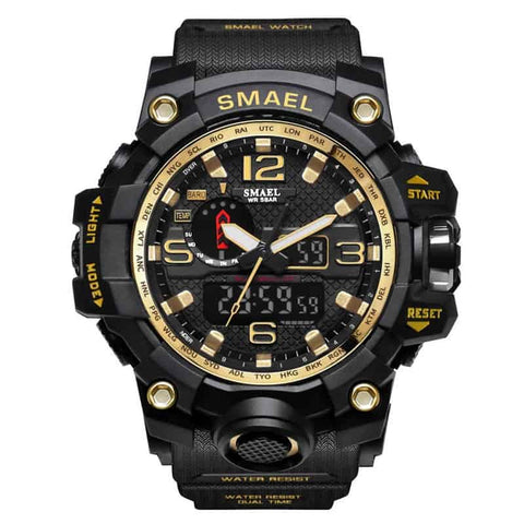 [Gold] - Men's Sports Watch Dual Display Waterproof - 5ATM Water-resistant Digital with LED Backlight