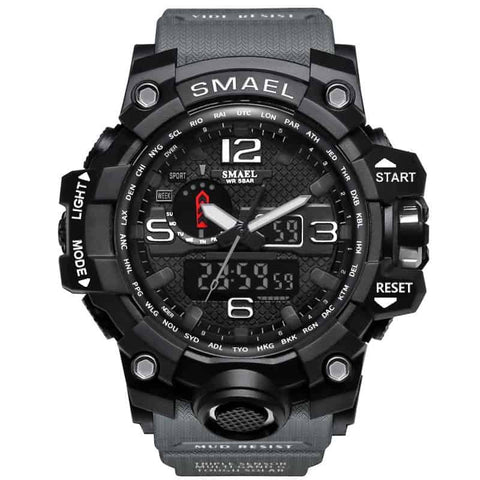 [Gray] - Men's Sports Watch Dual Display Waterproof - 5ATM Water-resistant Digital with LED Backlight
