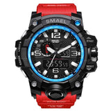 [Red] - Men's Sports Watch Dual Display Waterproof - 5ATM Water-resistant Digital with LED Backlight