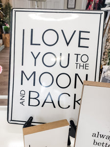 Moon and Back Metal Sign
