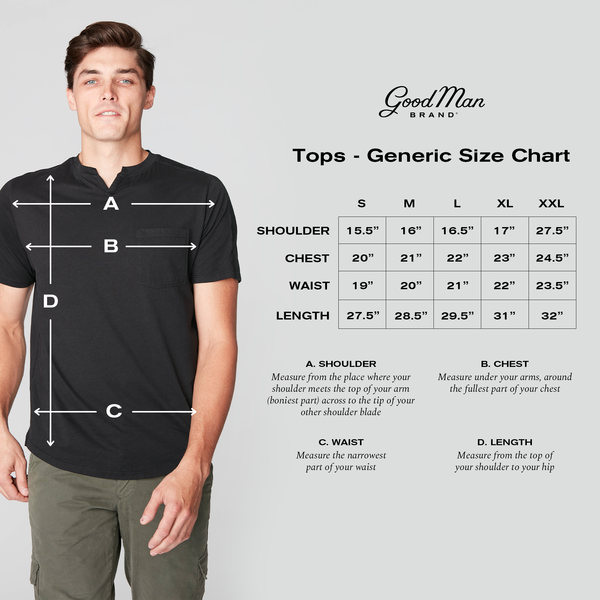 Good Man Brand Tops sizing guide