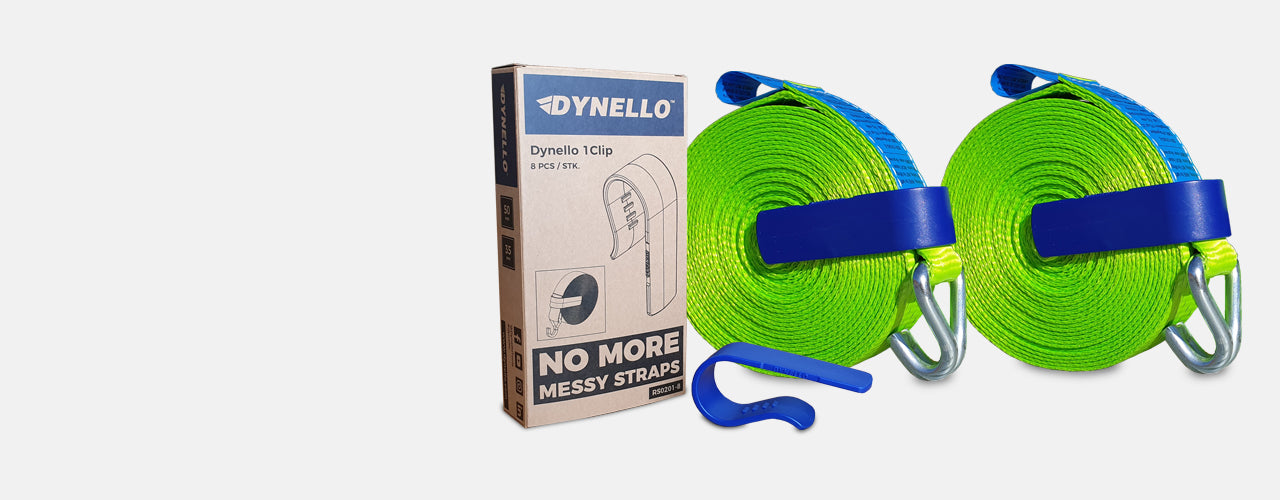 display of dynello 1clip pack and two rolled up straps with a clip on