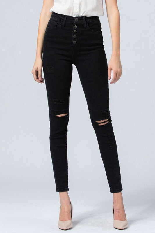 Flying Monkey Button Fly Distressed Skinny Jeans