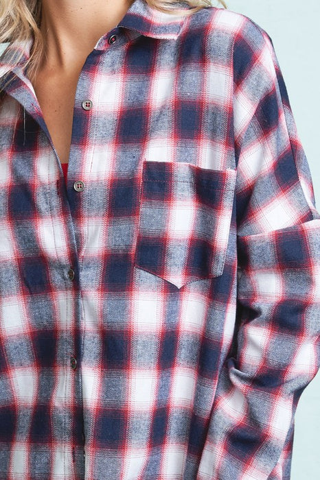 Takes me Back Oversized Plaid Shirt - Red/Blue