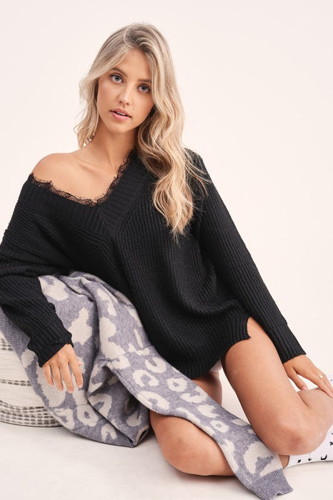 A Little Love Knit Sweater - Black