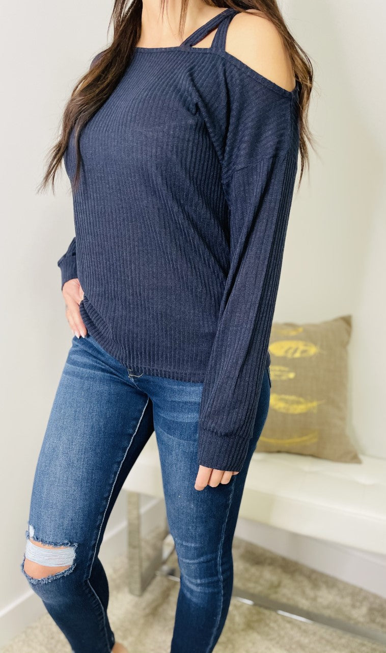 'Dreaming of Spring' Off Shoulder Knit Sweater - Navy