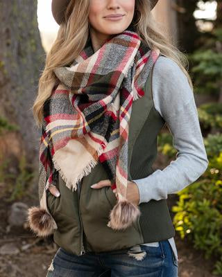 Ivory Plaid Triangle Scarf - Grace & Lace