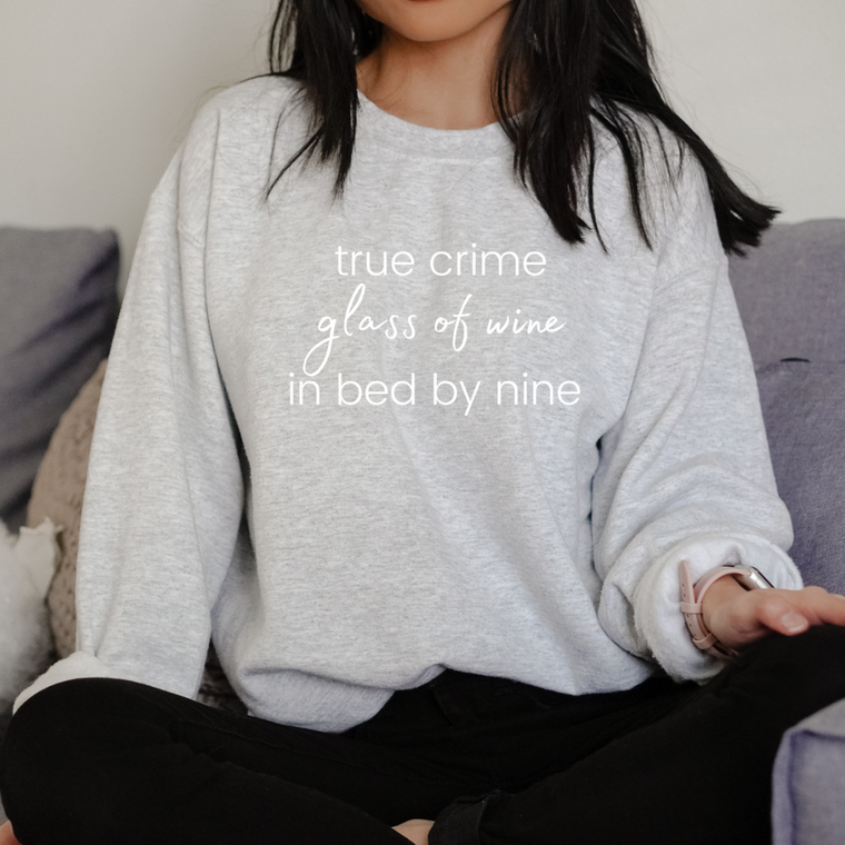 True Crime, In Bed by Nine Crewneck | Light Grey