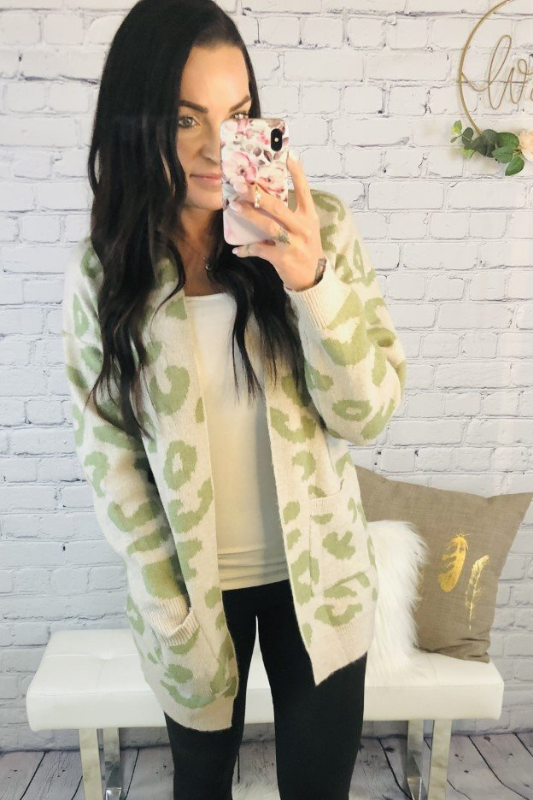 To Stay Leopard Cardigan - Sage