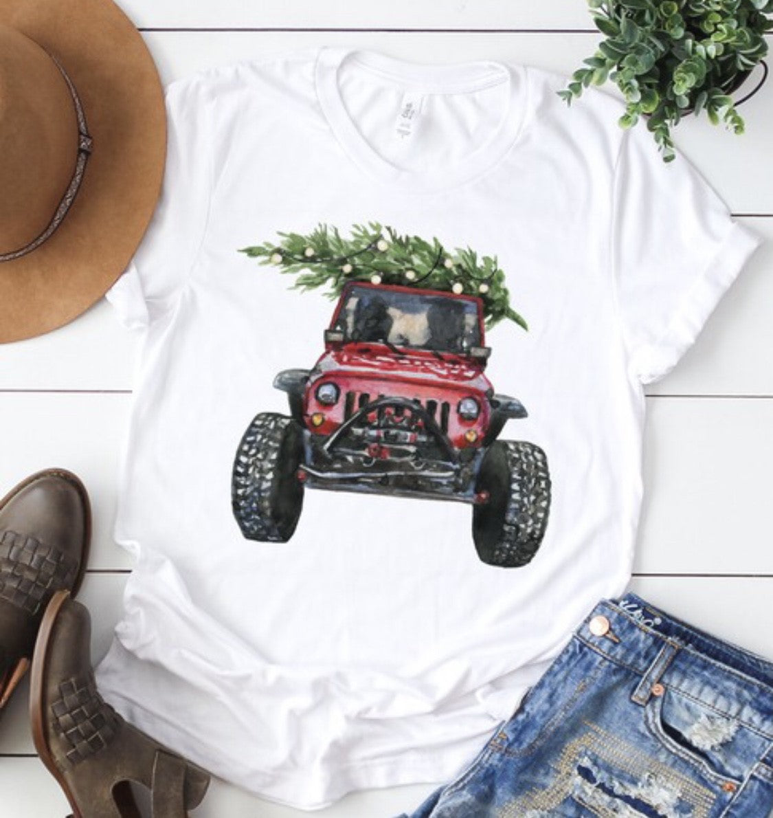 Christmas Jeep Graphic Tee - White