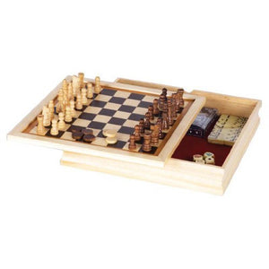 "6-in-1 GAME- 11"" WOOD CASE"
