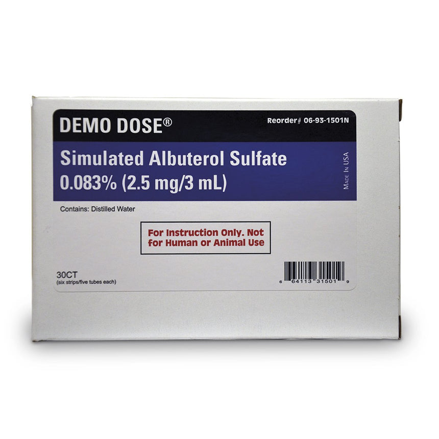 Demo Dose® Simulated Inhalation Medication - Albuterol Sulfate 0.083% - 2.5 mg/3 ml
