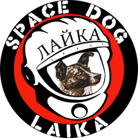 Soviet dog Laika in a cosmonaut helmet with the words Space Dog Laika around it.