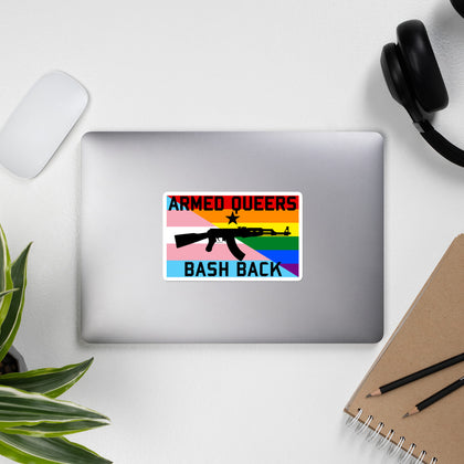 Armed Queers Bash Back w/ Star - LGBTQ, Queer, AK47 Sticker