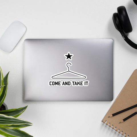 Come And Take It Coat Hanger - Repeal the NFA, Machine Gun, Meme Sticker