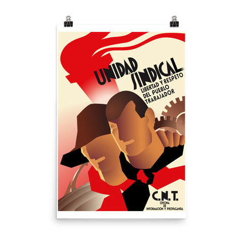 CNT Unidad Sindical - Refinished Spanish Civil War Propaganda Poster