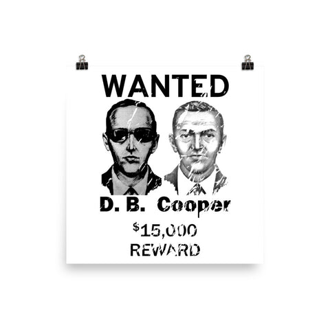 DB Cooper Wanted Poster - Criminal, FBI, Plane Hijacking, Unsolved, Robbery Print