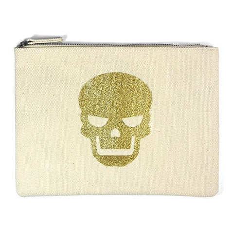 Gold and Tan Skull Clutch