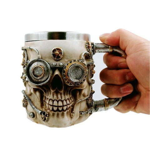 Stainless Steel Steampunk Skull Mug