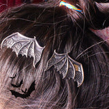 Vintage Matte Black and Silver Vampire Bat Wings Hair Clips