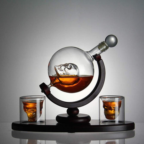 Skull Glass Decanter and Skull Glasses Set [6 piece set]