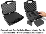 CASEMATIX Hard Travel Case with Diced Foam fits AAXA P7 Pico Projector, P300, P4X, Ivation, Philips, Brookstone Projectors, Mini Tripod, Charger