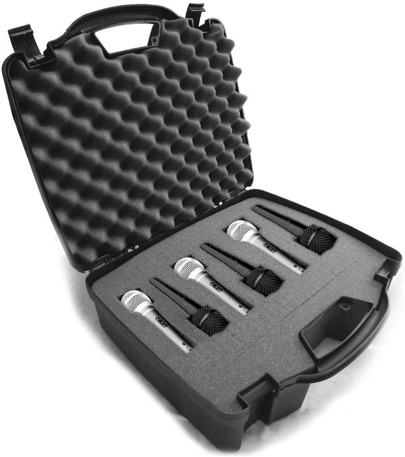 CASEMATIX Cardioid Dynamic Microphone Hard Case with Dense Internal Customizable Foam Fits 6 Shure Microphones SM58, SM57, Beta 58A, PG48, PGA58