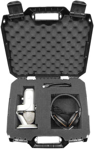 CASEMATIX USB Microphone Hard Case Fits HyperX QuadCast, Blue Yeti X Computer Mic, Razer Seiren X, Samson G-Track Pro and Recording/Gaming Accessories
