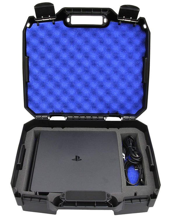 CASEMATIX Travel Case Compatible with Playstation 4 Slim 1TB Console and Accessories such as Controllers, Wireless Move Motion, Games, Cables, Will Not Fit Other PS4 Models, Includes Case Only