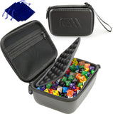 CASEMATIX Travel Dice Case for 100+ RPG Dice with Padded Interior Divider and Wrist Strap - Hard Shell Protective DND Dice Box and RPG Dice Case