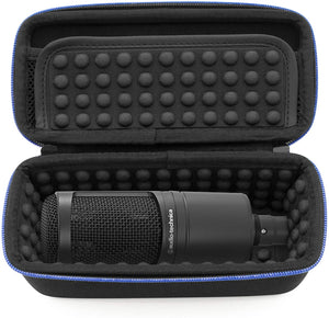 CASEMATIX Padded AT2020 Microphone Case Compatible with AT2020 USB, AT2020USB Plus, AT2035, AT2050, AT4033A, AT4040, AT4050, ATR2500 USB, Windscreen and Small Cable Accessories