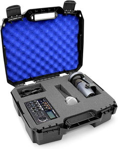 CASEMATIX 17 inch Mobile Podcast Station Travel Case for Microphones, Recorders, Laptops and Cables with Dual Customizable Foam Layers, Case Only